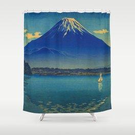 Tsuchiya Koitsu Vintage Japanese Woodblock Print Mount Fuji Shower Curtain