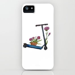 Push Scooter & Flowers iPhone Case