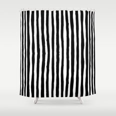 Stripe Shower Curtains Society - Gray and white striped shower curtain