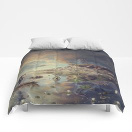 Chinese boat in the mist Comforters