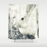 rabbit Shower Curtains featuring Rabbit by Falko Follert Art-FF77