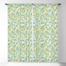 Green Stacked Hex Beads Blackout Curtain