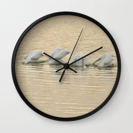 Whimsical White Pelicans Dance Wall Clock