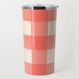 coral plaid Travel Mug
