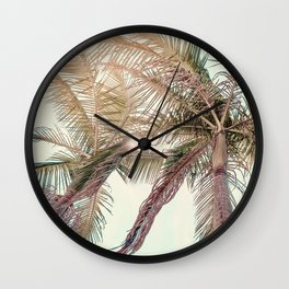 Sunny San Diego Day with Palm Trees Wall Clock