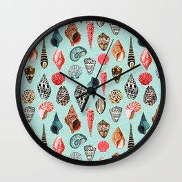 Seashells ocean nautical beach seaside children kids baby home dec shell illustration Andrea Lauren Wall Clock