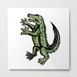 Crocodile Standing Up Tattoo Metal Print