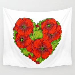 Red poppies flowers heart Wall Tapestry