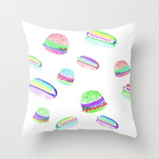 Colorful Hot-Dog and Burger Pattern Throw Pillow