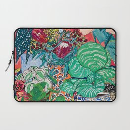 Jungle of Houseplants and Flowers on Bright Coral Pink with Wild Cats Laptop Sleeve