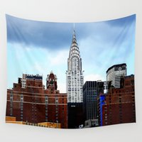 building Wall Tapestries featuring Chrysler Building by Alev Takil