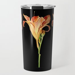 Orange Daylily Illustration Travel Mug