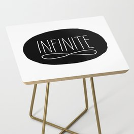 Infinite Black and White Typographic Design Side Table