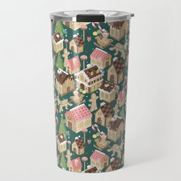 Gingerbread Town Green Travel Mug
