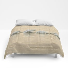 Whimsical White Pelicans Dance Comforters