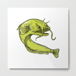 Devil Catfish Jumping Drawing Metal Print