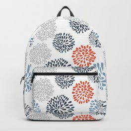 Doodle flowers in red and blue Backpack