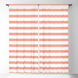 Seamless coral striped pattern on white Blackout Curtain