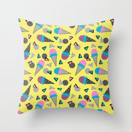 Cruncher - memphis throwback ice cream cone desert 1980s 80s style retro geometric neon pop art Throw Pillow