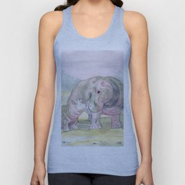 Colorful Mom and Baby Hippo Unisex Tank Top