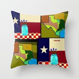 A Texas Quilt, State Flag and Blue Bonnets Throw Pillow