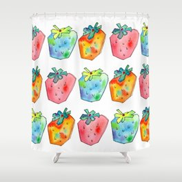 Difference Is Not Wrong watercolor painting strawberry illustration fruits nursery kitchen Shower Curtain