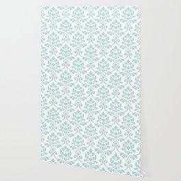 Feuille Damask Pattern Duck Egg Blue on White Wallpaper