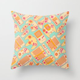 Video Game Controllers in Retro Colors Throw Pillow