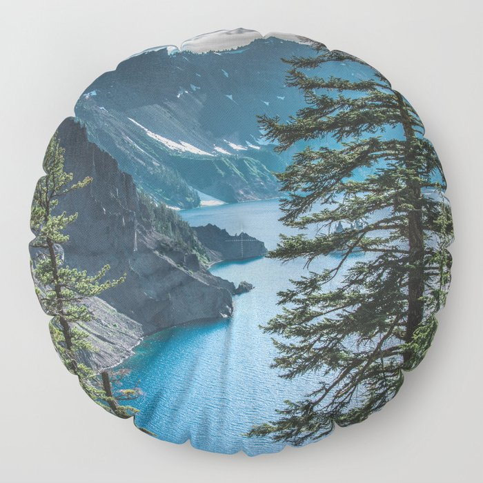Blue Crater Lake Oregon in Summer Floor Pillow