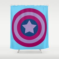 bisexual Shower Curtains featuring American Pride (bisexual edition) by Nikki Homicide