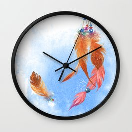 Ethnic feathers Wall Clock