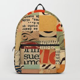 Vintage Abstract Grid Collage Backpack