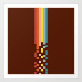 Classic Minimal 70s 80s Retro Stripes Pixel Drops - Aitaro Art Print