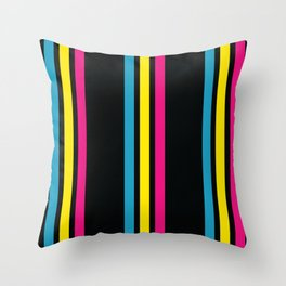 Stripes on Black Throw Pillow