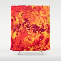 chemistry Shower Curtains featuring Chemistry on Red by Adaralbion