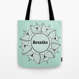 Breathe Yoga Boho Mandala Light Blue Green Tote Bag