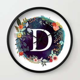 Personalized Monogram Initial Letter D Floral Wreath Artwork Wall Clock
