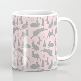 Rabbit Pattern | Rabbit Silhouettes | Bunny Rabbits | Bunnies | Hares | Pink and Grey | Coffee Mug