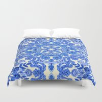 china Duvet Covers featuring Cobalt Blue & China White Folk Art Pattern by micklyn