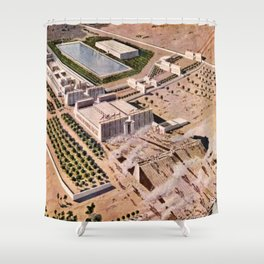 """Classical Masterpiece """"Egyptian Pylon Temple of Thebes"""" by Herbert Herget Shower Curtain"""