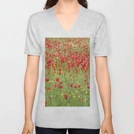 Meadow With Beautiful Bright Red Poppy Flowers  Unisex V-Neck
