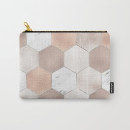 Rose pearl and marble hexagons Carry-All Pouch