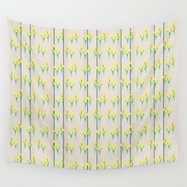 Yellow bursts on stripes Wall Tapestry