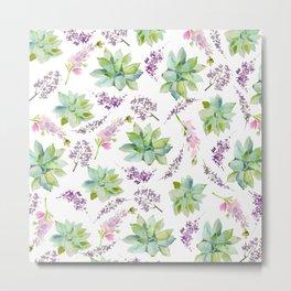 Blush lavender pink green watercolor cactus floral Metal Print