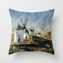 Windmills of Castilla la Mancha Throw Pillow