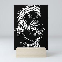Ink Dragon white on black Mini Art Print