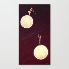 2 moons, a girl and a boy! Canvas Print