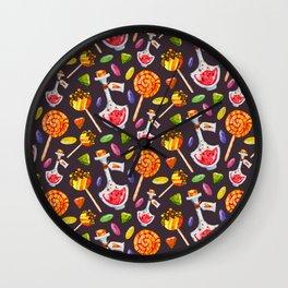 Watercolor Halloween Candy Pattern Wall Clock