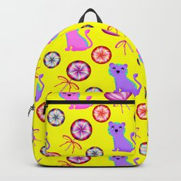 Cute happy baby tigers, colorful retro vintage heart lollipops nursery yellow pattern design Backpack