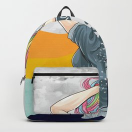 Hand drawn girl unicorn with rock and roll t-shirt style and hair in rainbow colors Backpack
